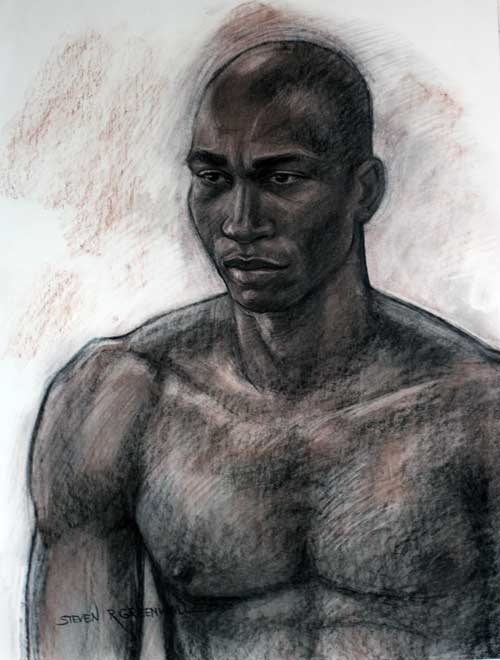 Original art conte crayon titled The Athlete