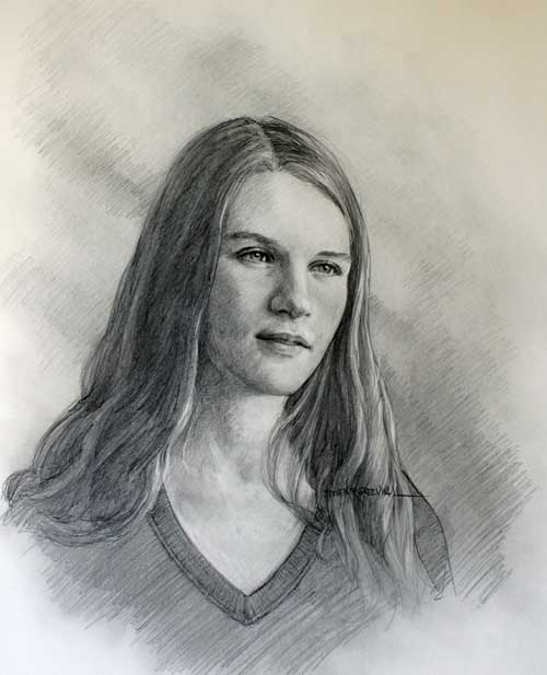 Original art graphite titled Abigail