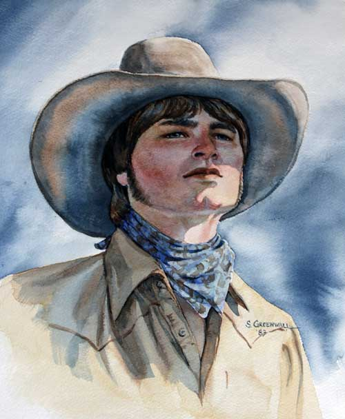 Original art watercolor titled Cowboy