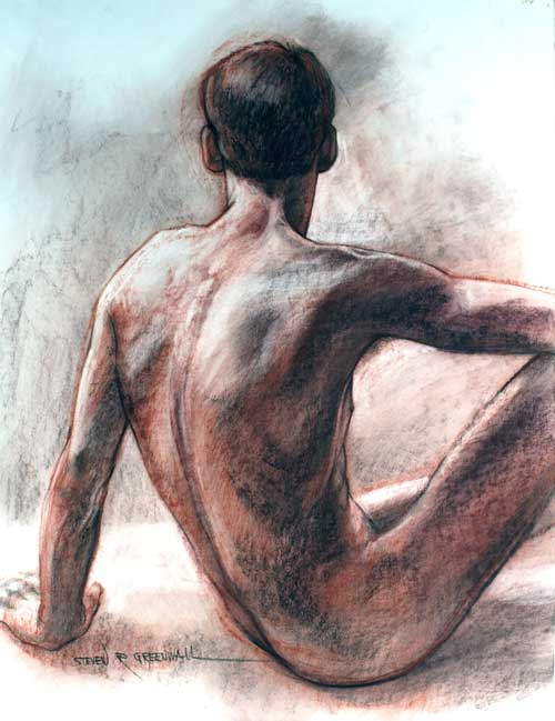 Original art conte crayon titled Mark's Back
