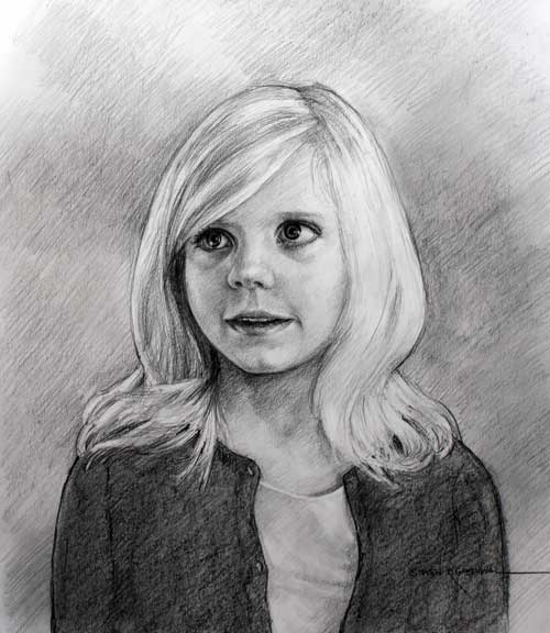 Original art graphite drawing titled Girl In Sweater