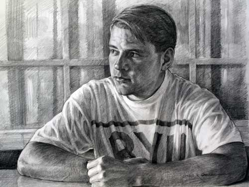 Original art graphite drawing titled BYU