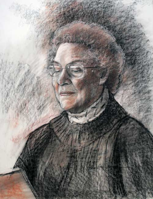 Original art conte crayon titled Mrs. Hodgson