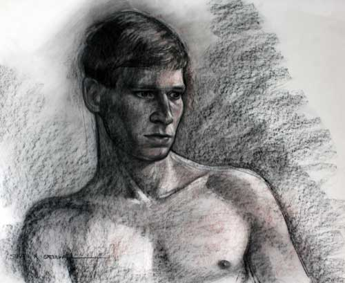 Original art conte crayon titled Side Glance