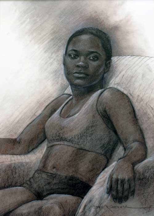 Original art conte crayon titled Girl Model