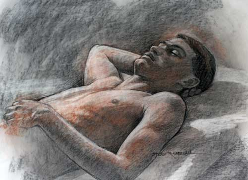 Original art conte crayon titled Sound Sleep