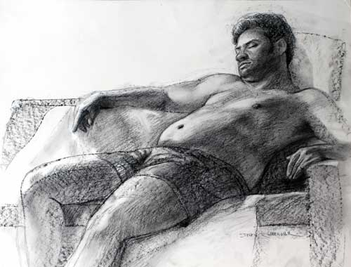 Original art conte crayon titled After Dinner Snooze